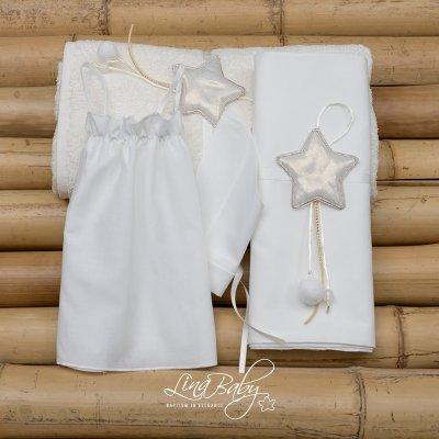 Λαδόπανο Σετ Λαμπερό Αστεράκι  Shiny Star Lina Baby 1370 ιβουάρ