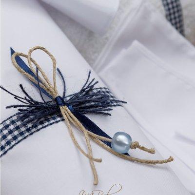 Λαδόπανο Σετ Καρό μπλε φιογκάκι  Plaid Blue Bow Lina Baby 155 ιβουάρ