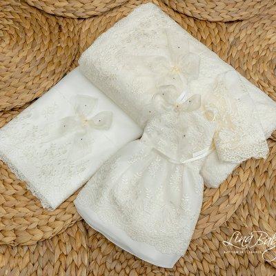 Λαδόπανο Σετ Δαντέλα Γαλλίας  French Lace Lina Baby 618 ιβουάρ
