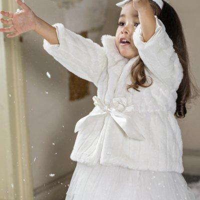 Βαπτιστική Γούνα Faux με ζωνάκι Stova Bambini λευκή AW21G9 χειμώνας 2020 - 2021
