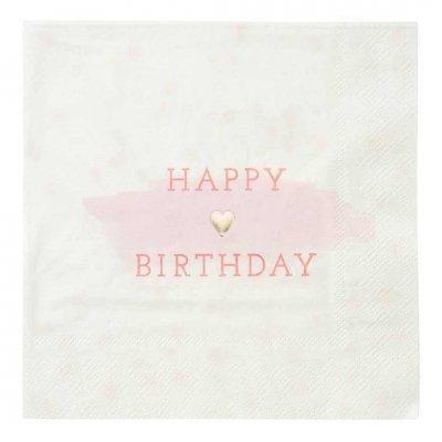 Χαρτοπετσέτες ρόζ Happy Birthday