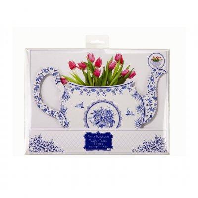 Τσαγιέρα βάση για λουλούδια Μπλέ - Λευκό