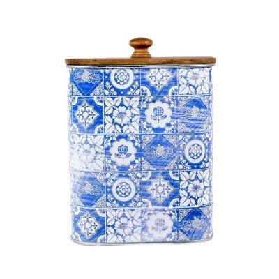 Διακοσμητικό κουτάκι μεταλλικό blue Patchwork