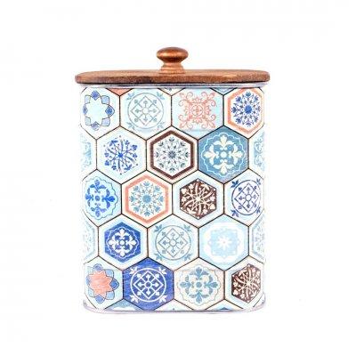 Διακοσμητικό κουτάκι μεταλλικό hexagonal Patchwork