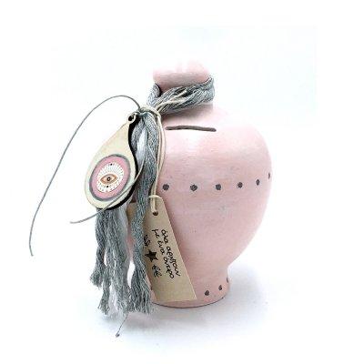 Κουμπαράς Κεραμικός λαχούρι ροζ