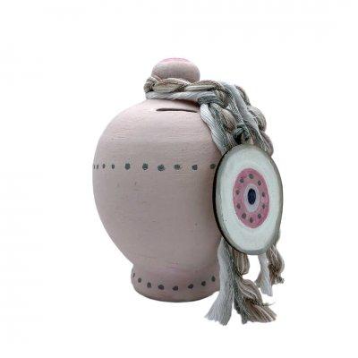 Κουμπαράς Μάτι κεραμικός ροζ
