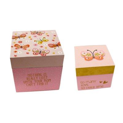 Σετ ξύλινα τετράγωνα κουτιά 2 τεμαχίων Πεταλούδα