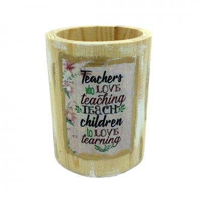 Μολυβοθήκη ξύλινη στρογγυλή για τη δασκάλα/ο