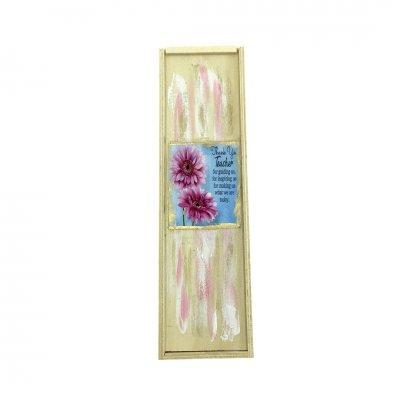 Κασετίνα ξύλινη για τη δασκάλα λουλουδάκια - αρωματικά