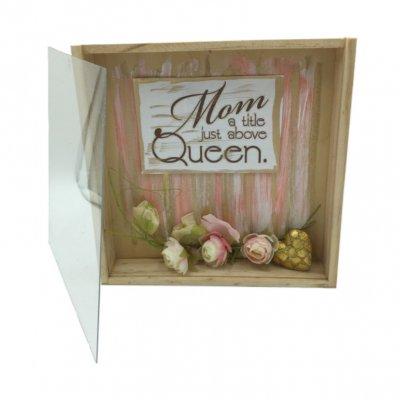 Χειροποίητο κουτί - κάδρο Mom με σαπουνάκια ροδοπέταλα