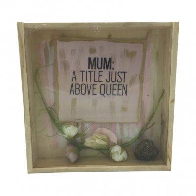 Χειροποίητο κουτί - κάδρο Mum με σαπουνάκια ροδοπέταλα