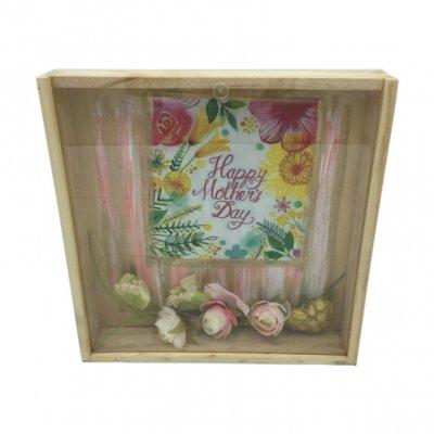 Χειροποίητο κουτί - κάδρο Mother's day με σαπουνάκια ροδοπέταλα