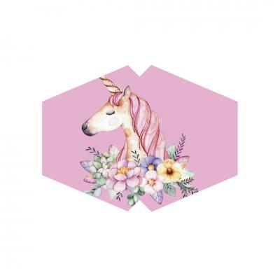 Μάσκα προσώπου παιδική Unicorn ροζ