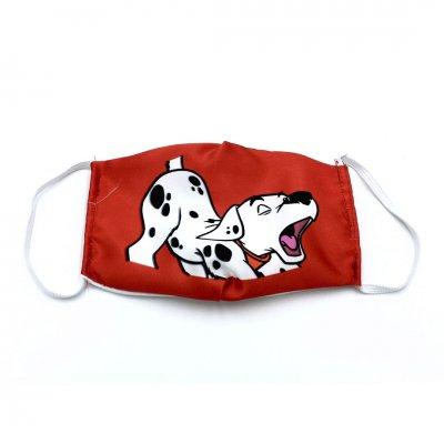 Μάσκα προσώπου παιδική σκυλάκι κόκκινη