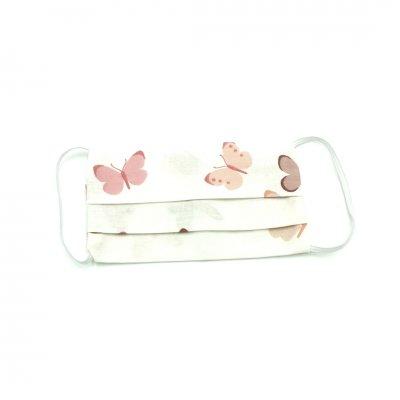Μάσκα προσώπου παιδική λευκή με ροζ πεταλούδες
