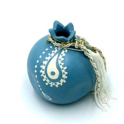 Γούρι Ρόδι κεραμικό γαλάζιο μεγάλο