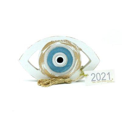 Γούρι Μάτι ξύλινο γαλάζιο μεγάλο