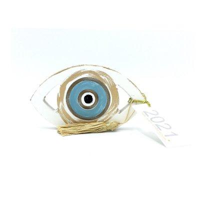 Γούρι Μάτι ξύλινο γαλάζιο μικρό