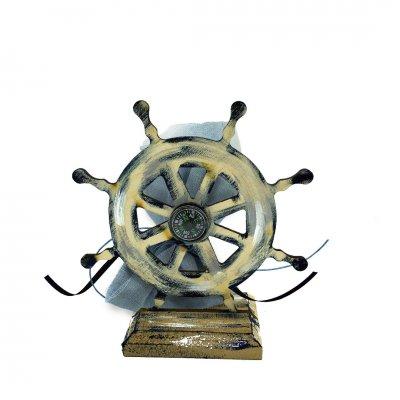 Μπομπονιέρα Ναυτικό Τιμόνι ξύλινο με βάση