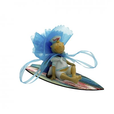 Μπομπονιέρα Ναύτης πήλινο σε ξύλινη σανίδα surf