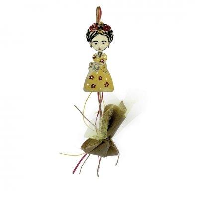 Μπομπονιέρα Φρίντα κίτρινο ξύλινο κρεμαστό