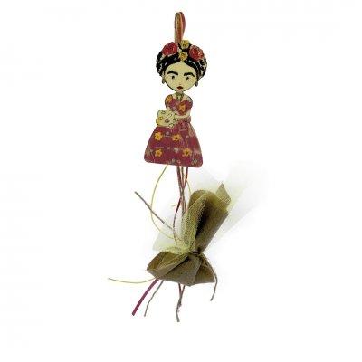 Μπομπονιέρα Φρίντα κόκκινο ξύλινο κρεμαστό