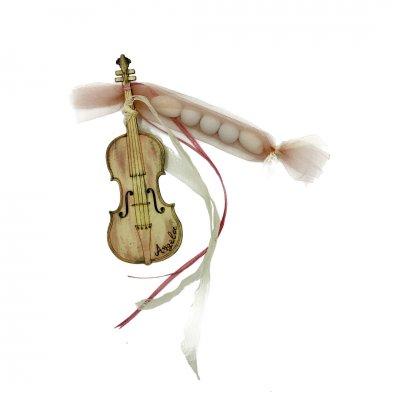 Μπομπονιέρα βιολί ξύλινο κρεμαστό