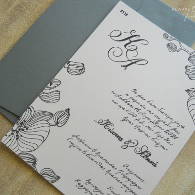 Προσκλητήριο γάμου Fleur Grise AAF8118