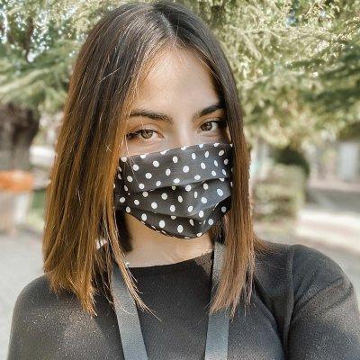 Μάσκα προσώπου μαύρη πουά