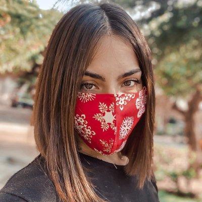 Μάσκα προσώπου χιονονιφάδες κόκκινη γυναικεία