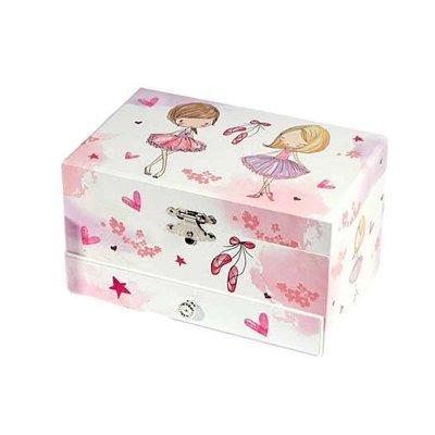 Μουσικό κουτί - Μπιζουτιέρα ballerina λευκή συρταράκι