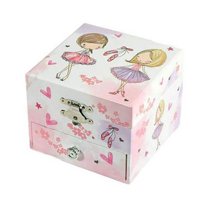 Μουσικό κουτί - Μπιζουτιέρα ballerina λευκή τετράγωνη