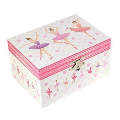 Μουσικό κουτί - Μπιζουτιέρα ballerina ροζ ορθογώνια