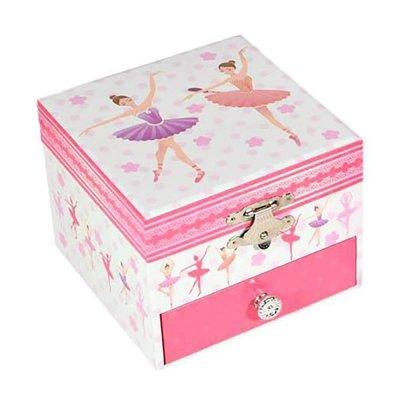 Μουσικό κουτί - Μπιζουτιέρα ballerina ροζ τετράγωνη