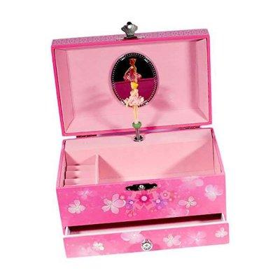 Μουσικό κουτί - Μπιζουτιέρα ballerina φούξια συρταράκι