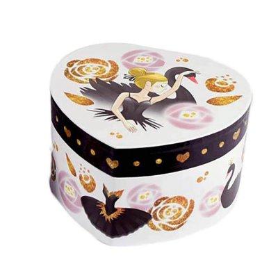 Μουσικό κουτί - Μπιζουτιέρα black swan λευκή καρδιά