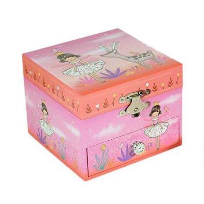 Μουσικό κουτί - Μπιζουτιέρα fairy ροζ τετράγωνη