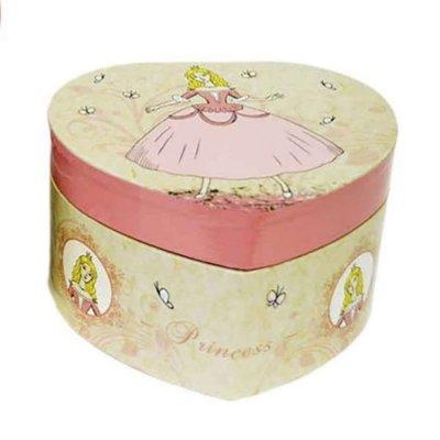 Μουσικό κουτί - Μπιζουτιέρα princess εκρού καρδιά