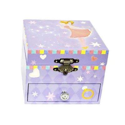 Μουσικό κουτί - Μπιζουτιέρα princess μωβ τετράγωνη