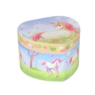 Μουσικό κουτί - Μπιζουτιέρα unicorn σιέλ καρδιά