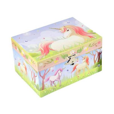 Μουσικό κουτί - Μπιζουτιέρα unicorn σιέλ ορθογώνια