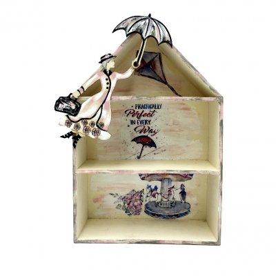 Κάδρο μινιατουροθήκη ξύλινη Mary Poppins ροζ