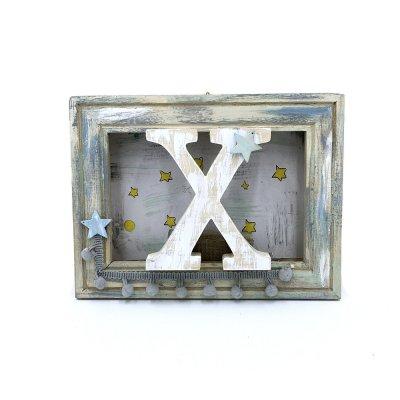Κάδρο personalised με φωτάκια led Μονόγραμμα σιέλ