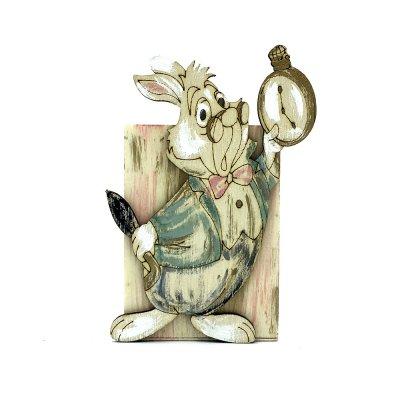 Χειροποίητη μολυβοθήκη ξύλινη λαγός με ρολόι