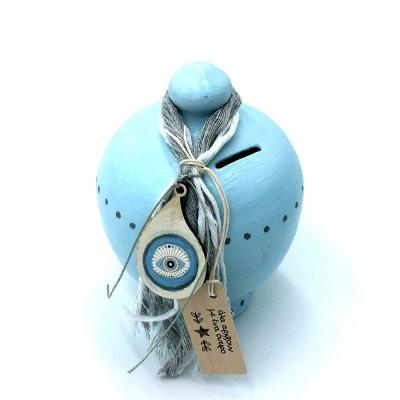 Κουμπαράς Κεραμικός λαχούρι γαλάζιος