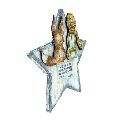 Χειροποίητο αστέρι ξύλινο Μικρός πρίγκηπας με φωτάκια led
