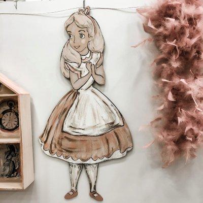 Φιγούρα ξύλινη Αλίκη και Λαγός Σετ 2 τεμάχια