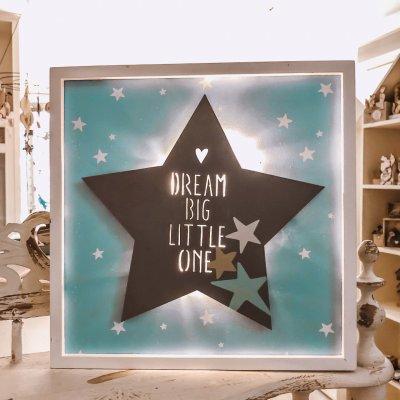 Καδράκι με φωτάκια LED σιέλ αστέρι