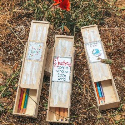 Κασετίνα ξύλινη για τη δασκάλα thank you - μολύβια