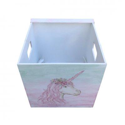 Κουτί Βάπτισης για κορίτσι Μονόκερος - κύβος